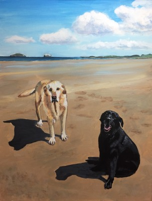 Gold and black labs on beach